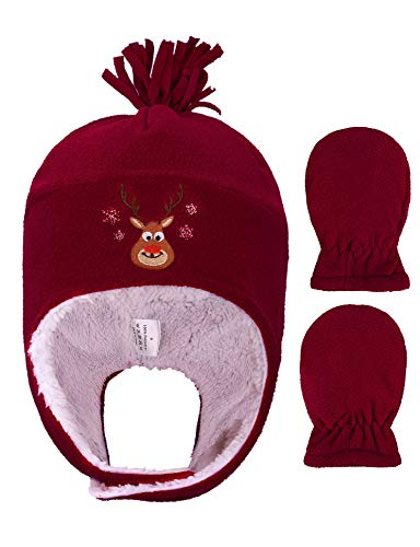 YoungLove Baby/Toddlers Fleece Winter Set Hat and Mittens for Girls,Reindeer Red,6-24 Months