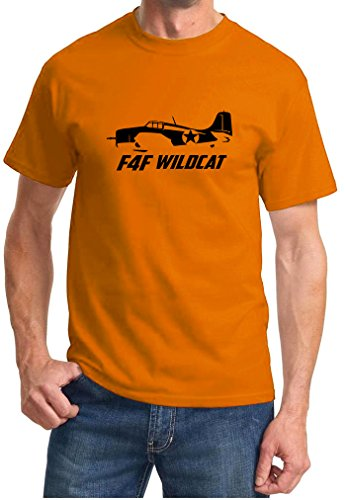 F4f Wildcat Fighter - Maddmax Car Art Grumman F4F Wildcat Fighter Outline Design Tshirt Small Orange