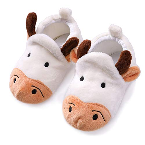 Unisex Baby Cute Cartoon Infant Warm Cotton Shoes Anti-Slip Soft Sole First Walkers Shoes (Beige Cow, 0-5 Months)
