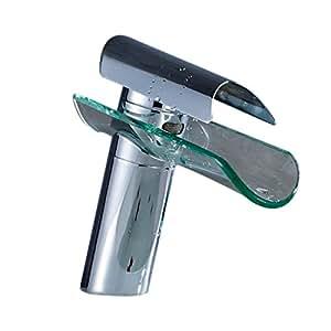 Auralum® Grifo de Lavabo Diseño Cristal Elegante Grifo de Baño Cocina Cascada Monocommando Cromo-plateada Latón y Vidrio (Tipo C/más reciente)