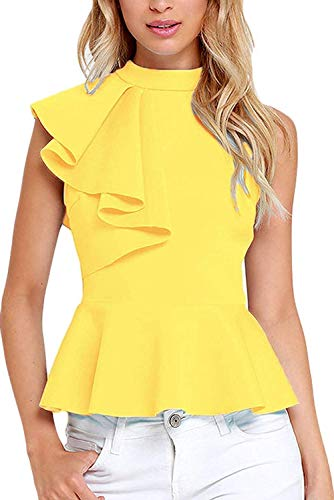 Shawhuwa Womens Sexy Asymmetric Ruffle Side Peplum Top Clubwear S Yellow ()