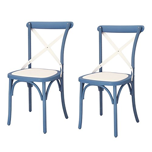 Price comparison product image Modern-Depo Econ-Friendly Nylon Vintage-Style Dining Chair Curved Leg Cross Back (Set of 2),  Blue White