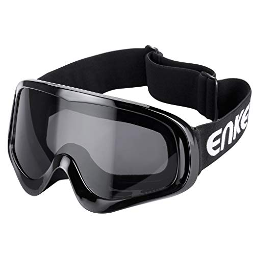 Enkeeo Motorcycle Goggles Anti-Scratch Cycling Googles Dust Proof Bendable Eyewear with Padded Soft Foam, Adjustable Strap for Adults' Cycling Skiing Climbing Shooting (Grey ()