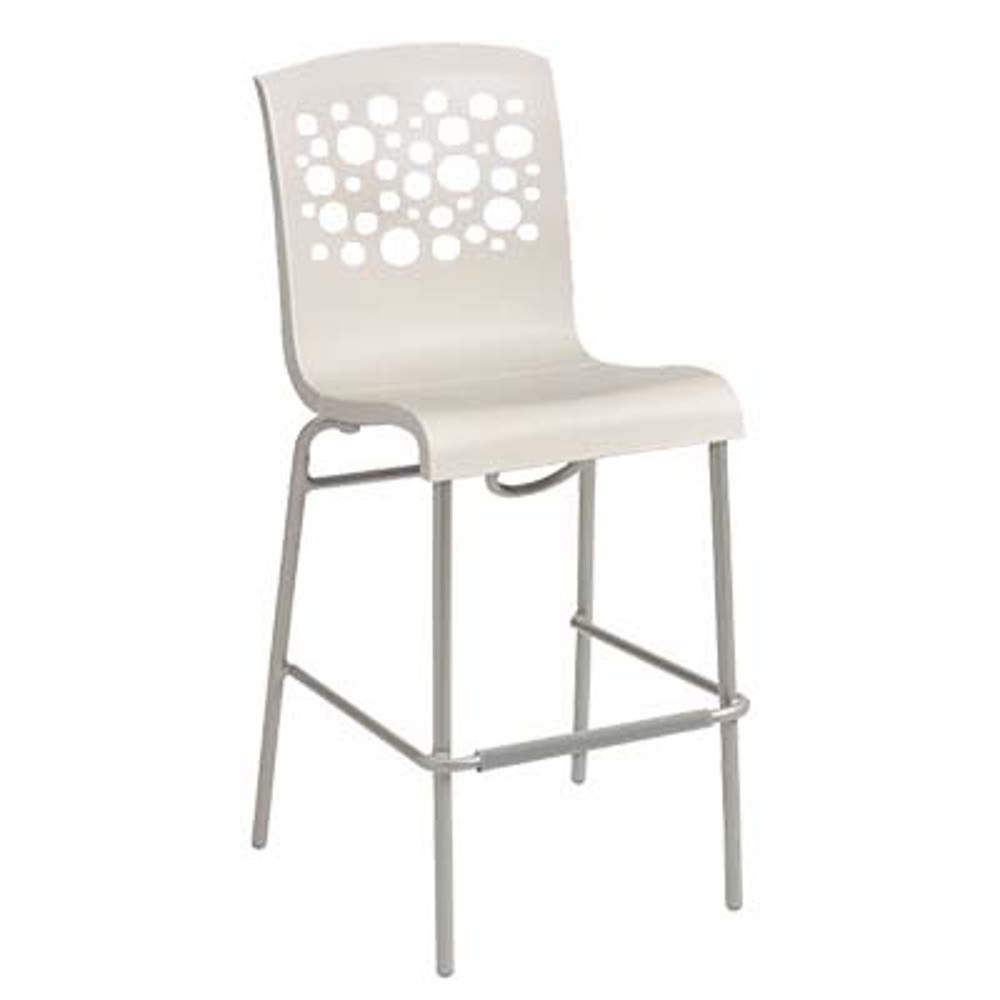 Grosfillex US838004 Tempo Stacking Barstool, White with White Seat (Case of 2)