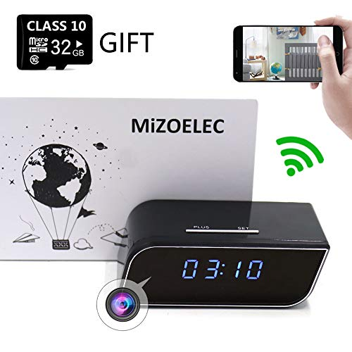 Cheap Clock Hidden Camera WiFi HD 1080P Mini Alarm desk spy clock Camera For Home Security Nanny Cam Small Wireless(Updated version)
