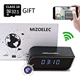 Clock Hidden Camera WiFi HD 1080P Mini Alarm desk spy clock Camera For Home Security Nanny Cam Small Wireless(Updated version)