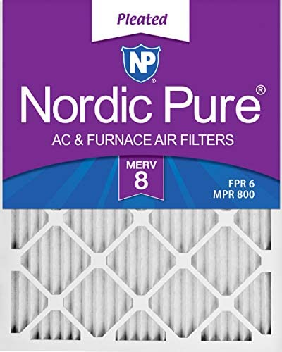Nordic Pure 16x20x1 MERV 8 Pleated AC Furnace Air Filters 6 Pack 6 PACK 6 PACK