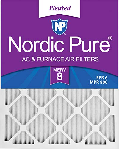 Nordic Pure 14x24x1M8-6 MERV 8 Pleated AC Furnace Air Filter, 14x24x1, Box of 6