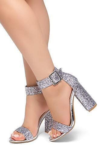 041978e1a991b Herstyle Women's Rumors-Glitter, Chunky Heel, Ankle Strap Silver Glitter 10  by Herstyle