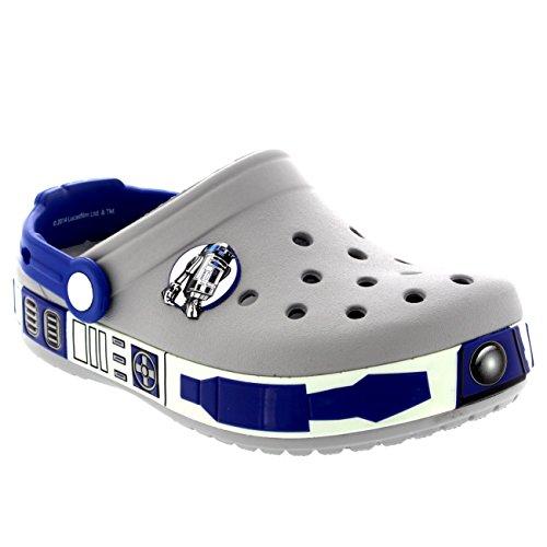 Kids Boys Crocs Star Wars R2D2 Beach Holiday Mules Slip On Shoes Clogs - Light Gray - C10-11
