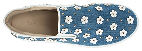 Annakastle Kvinna Blomma Applikationer Slip-ons Skridsko Sneakers Jeansblå