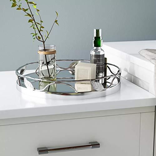 Round Mirror Tray With Nickel Leaf Design - Elegant Serving Tray - -