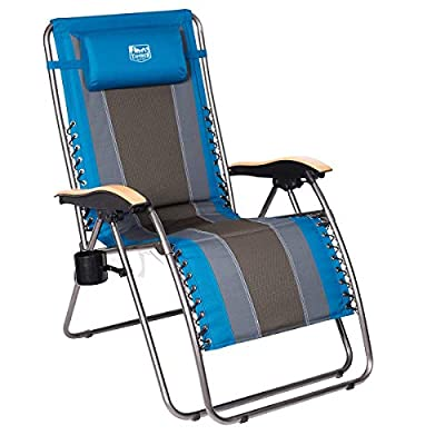 Timber Ridge Zero Gravity Locking Patio Outdoor Lounger Chair Oversize XL Padded Adjustable Recliner with Headrest Support 350lbs, Blue - Maximum loading capacity: supports up to 350lbs with sturdy steel tube frame, bungee suspension system, and durable polyester fabric Adjustable reclining position: Easy locking levers adjust and lock the chair to any position from upright to fully laid-back. Easiest locking mechanism on the market. Patented locking mechanism Open dimension: 43. 5 x 22 x 21. 3 inches. Length of chair when fully reclined is 72 inches - patio-furniture, patio-chairs, patio - 41yih6gp8eL. SS400  -