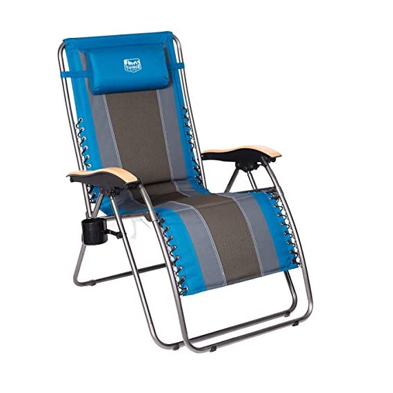 Timber Ridge Zero Gravity Chair Oversized Recliner Padded Folding Patio Lounge Chair 350lbs Capacity Adjustable Lawn Chair with Cup Holder, Headrest, for Outdoor, Camping, Patio, Lawn - Maximum loading capacity: supports up to 350lbs with sturdy steel tube frame, bungee suspension system, and durable polyester fabric Adjustable reclining position: Easy locking levers adjust and lock the chair to any position from upright to fully laid-back. Easiest locking mechanism on the market. Patented locking mechanism Open dimension: 43. 5 x 22 x 21. 3 inches. Length of chair when fully reclined is 72 inches - patio-furniture, patio-chairs, patio - 41yih6gp8eL. SS570  -