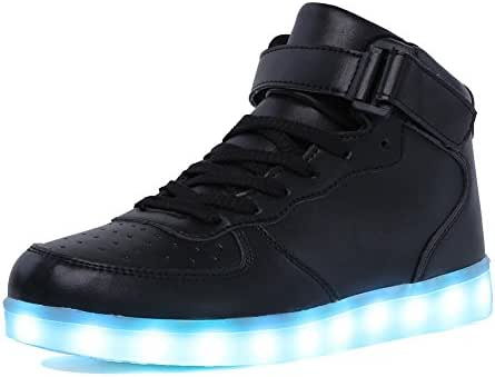 CIOR High Top Led Light Up Shoes 11 Colors Flashing Rechargeable Sneakers for Mens Womens Girls Boys
