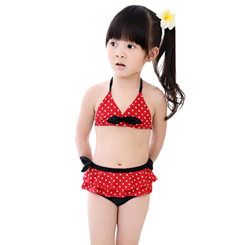 Two Bikini Swimsuit Pea Acvip Summer Red Set Girl Toddler Piece UXRqtR
