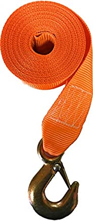 Winch Strap with Hook for Boat Trailer Heavy Duty Replacement Capascity 3000 Lbs orange Nylon 2 inch Wide x 20