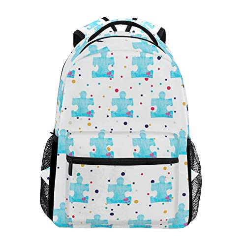 Stylish Autism Puzzle Piece Autistic Backpack- Lightweight School College Travel Bags, ChunBB 16