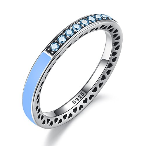 Everbling Radiant Hearts 925 Sterling Silver Stackable Ring, Air Blue Enamel & Sky Blue Synthetic (Blue Enamel Ring)
