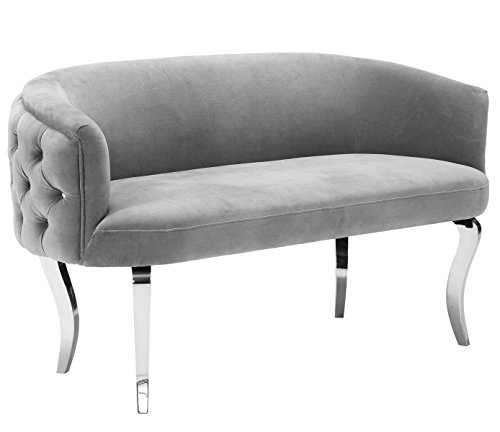 Tov Furniture The Adina Collection Contemporary Living Room Velvet Upholstered Loveseat, Grey with Silver Legs (Curved Settee)