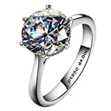 Erllo 4ct Round Brilliant Nscd Sona Simulated Diamond Solitaire Wedding Engagement Ring - Finger Size 6