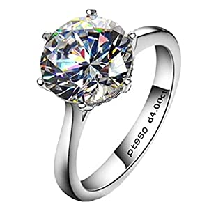 AINUOSHI 4ct Round Brilliant Nscd Sona Simulated Diamond Solitaire Wedding Engagement Ring – Finger Size 4-10