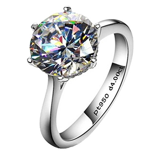 Erllo 4ct Round Brilliant Nscd Sona Simulated Diamond Solitaire Wedding Engagement Ring - Finger Size 5-8 (9.5) ()