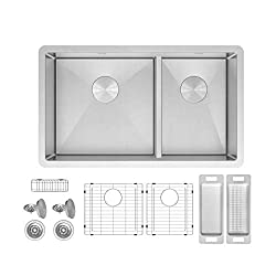 ZUHNE 32 Inch Double Bowl Under Mount 16 Gauge Stainless Kitchen Sink for 36 Inch Cabinet (60/40 Low Divide)