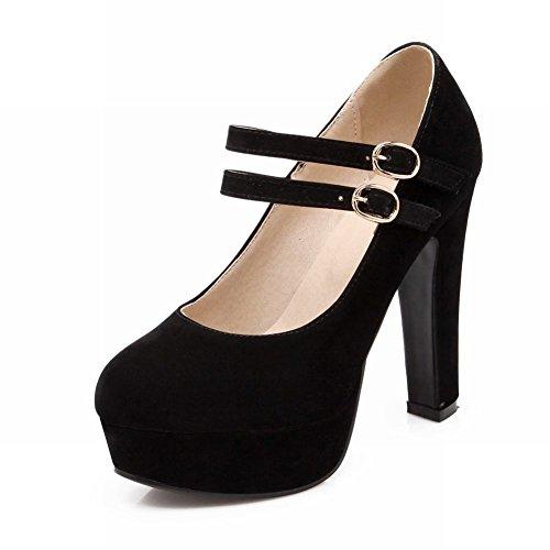 Charme Pied Mode Femmes Plateforme Haut Talon Mary Jane Pompes Chaussures Noir