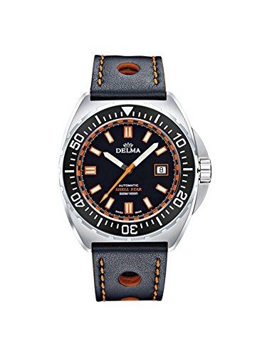 Delma Shell Star automatic diver watch 500m (black dial) leather