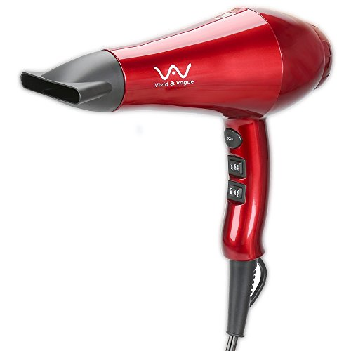 VAV 1875W Negative Ionic and IR Ceramic DC Hair Dryer with 2 Speed, 3 Temperature Cool Shot Button and Concentrator, Red