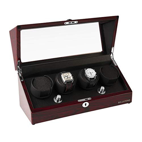- BILLSTONE Automatic Watch Winder - Collector 4 - Winds 4 Automatic Watches/Dedicated Rotor/Quiet Mabuchi Motor/Easy Set-up/4 Pre-Programmed Modes (Rosewood Finish)