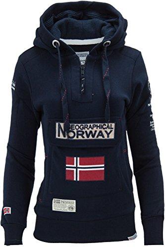Bleu Femme NorwaySweat Foncé Geographical À Capuche Manches Uni Longues dshQrxBotC