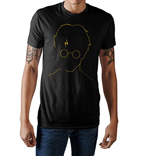 HARRY POTTER Lightning Bolt Scar Mens Black T-Shirt (X-Large)