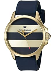 Juicy Couture Womens Jetsetter Quartz Gold-Tone and Silicone Casual Watch, Color:Blue (Model: 1901529)