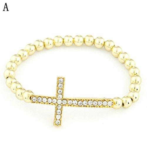 Beuu Diamond Cross Pearl Stretch Bracelet (Gold)