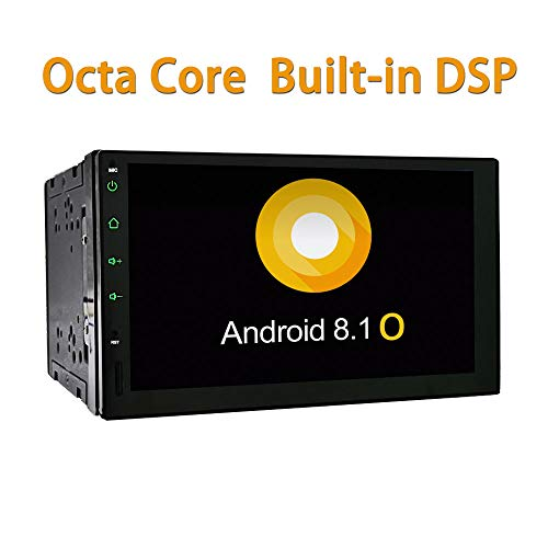 YODY Android 8.1 Octa Core Double Din Car Stereo 2GB RAM Built-in DSP 7 inch Touch Screen Radio GPS Navigation Support Bluetooth WiFi Mirror Link OBD2 Free Backup Camera and External Microphone
