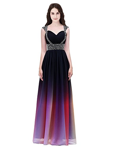 Sarahbridal Women's Ombre Chiffon Bridesmaid Dresses 2019 Long Beaded Sweetheart Prom Party Gowns US16