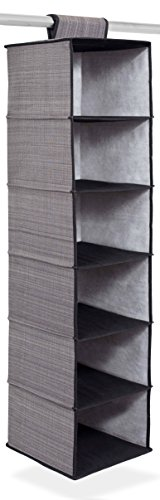Internets Best Hanging Closet Organizer   6 Shelf   Clothing Sweaters Shoes Accessories Storage   Grey