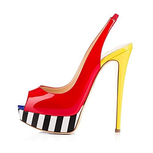 Heels Sandals Red High Dress Womens Toe Party Pan Stiletto B0tt0m Shoes Caitlin Wedding Platform Pumps Peep Multicolor CBTgHqw