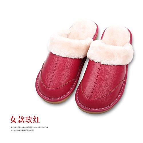 250 Pelle femmina Di Coppie 35 Legno Spessi Caldi E 36 Femminile Cotone Pavimento Pantofole In Casa Rosso Coperta In Uomini Inverno Antiscivolo q11wFa