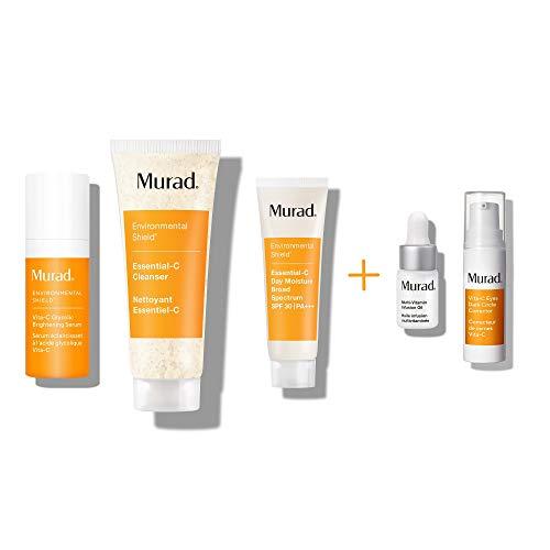 Murad Rapid Brightening Kit With Vita-C Glycolic Serum, Essential C Day Moisture SPF 30, Essential C Cleanser, Multi Vitamin Infusion Oil and Vita C Eyes Dark Circle Corrector