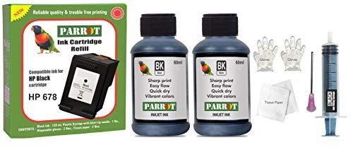 Parrot Refill for HP 678 Black Ink Cartridge for deskjet 1015 1515 1518 2515 2545 2548 2645 2648 3515 3545 3548 4515 4518 4645