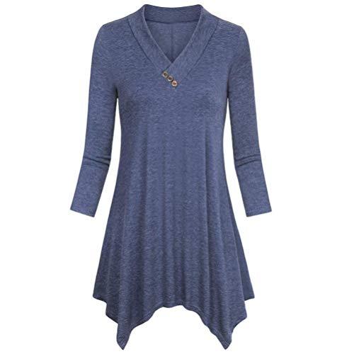 Sunhusing Women's Solid Cropped Sleeve Button Irregular Hem Shirt Casual Flare Tunic Blouse ()