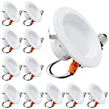 """ESD Tech 12 Pack 4"""" Inch LED Recessed Lighting Trim– Dimmable Downlight Retrofit Bulb Fixture, 3000K, 640 Lm, White, Smooth Round Design, JA-8, Energy Star, UL Listed"""