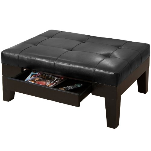 Best Selling Chatham Leather Storage Ottoman, Black