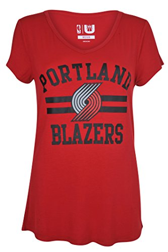 UNK NBA Women's Portland Trail Blazers T-Shirt V-Neck Relaxed Fit Short Sleeve Tee Shirt, Medium, Red