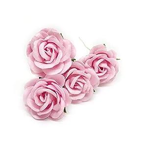 "1.5"" Light Pink Mulberry Paper Flowers Pink Wedding DIY Wedding Decor DIY Paper Bouquet Artificial Flowers Wedding Crafts Home Decorations Baby Shower Decor, 12 Pieces 10"