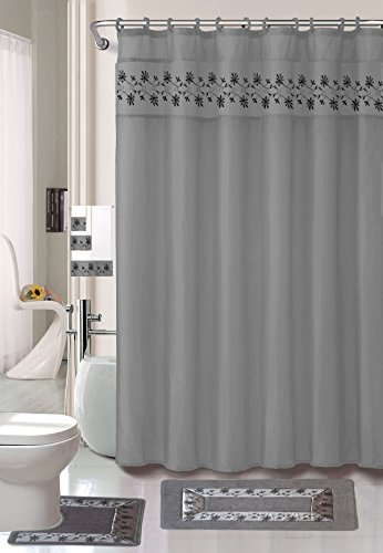 Luxury Home Collection 18 Pc Bath Rug Set Embroidery Non-Slip Bathroom Rug Mats And Rug Contour And Shower Curtain And Towels And Rings Hooks And Towels New (Silver) ()