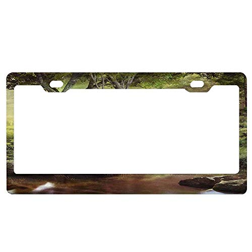 - Fantasy Spring Scenery with Pond Waterfall and Forest Car Licence Plate Covers Holders with Chrome Screw Caps for US Vehicles